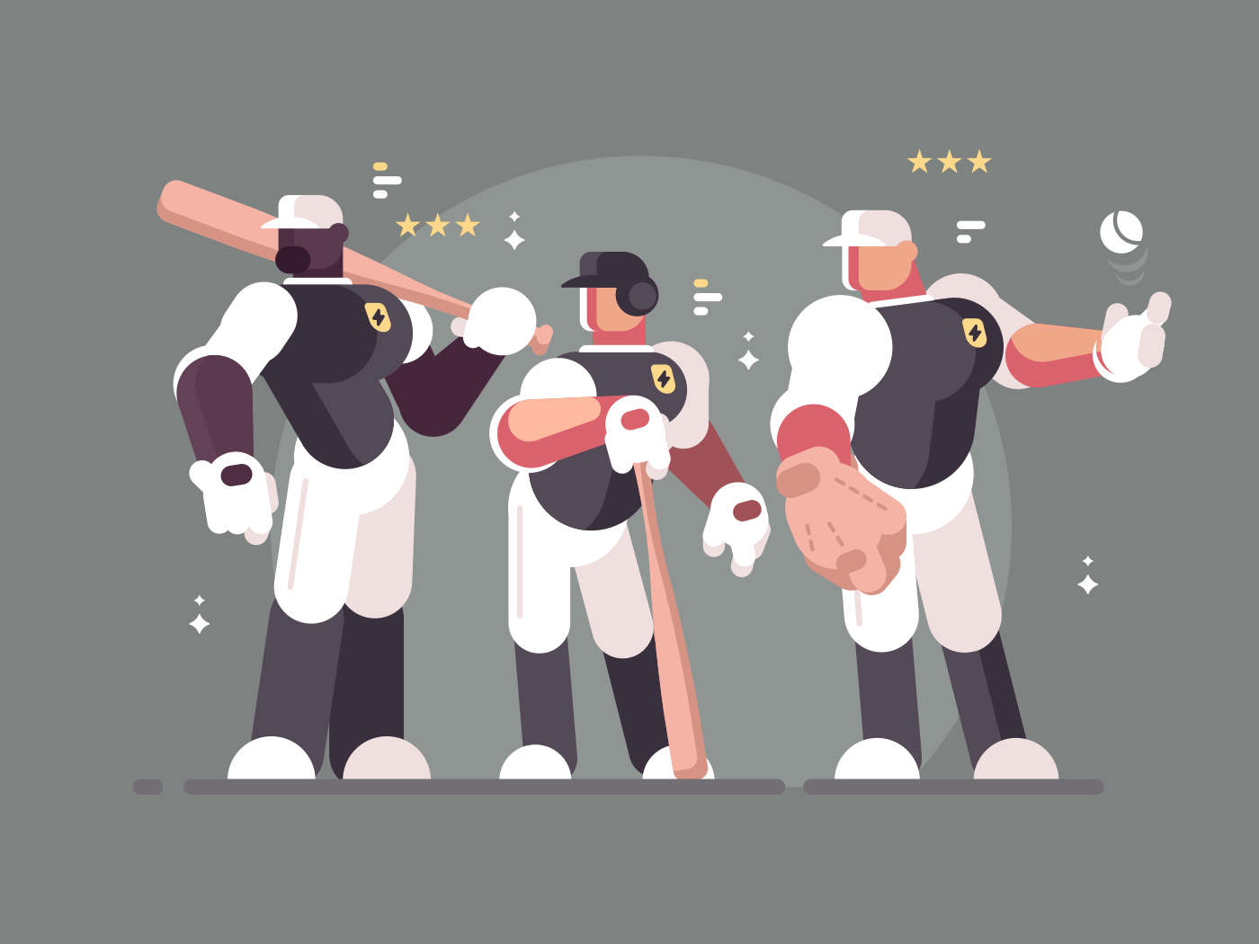 Baseball team of players in sports form and with bats. Vector illustration
