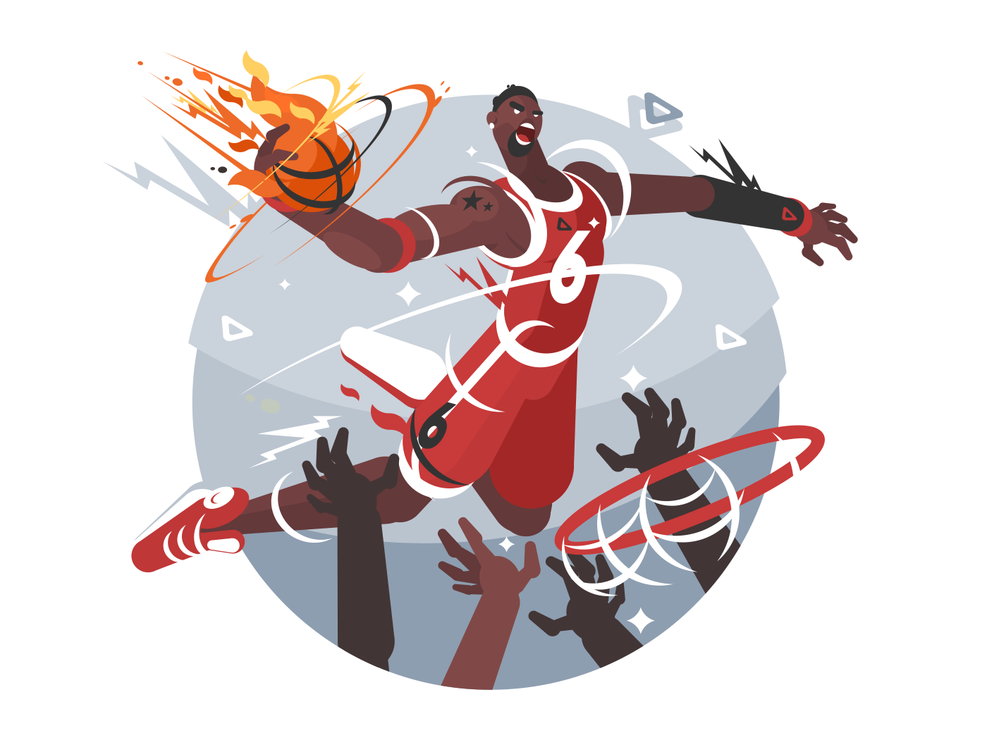 Basketball player with ball makes slam dunk. Vector flat illustration