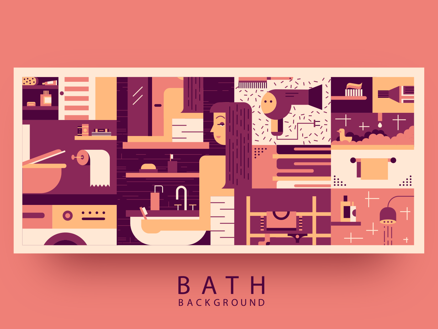 Bathroom woman background flat vector illustration
