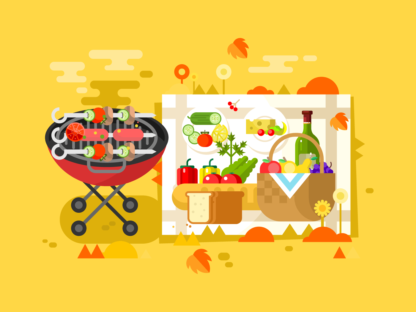 BBQ party flat vector illustration