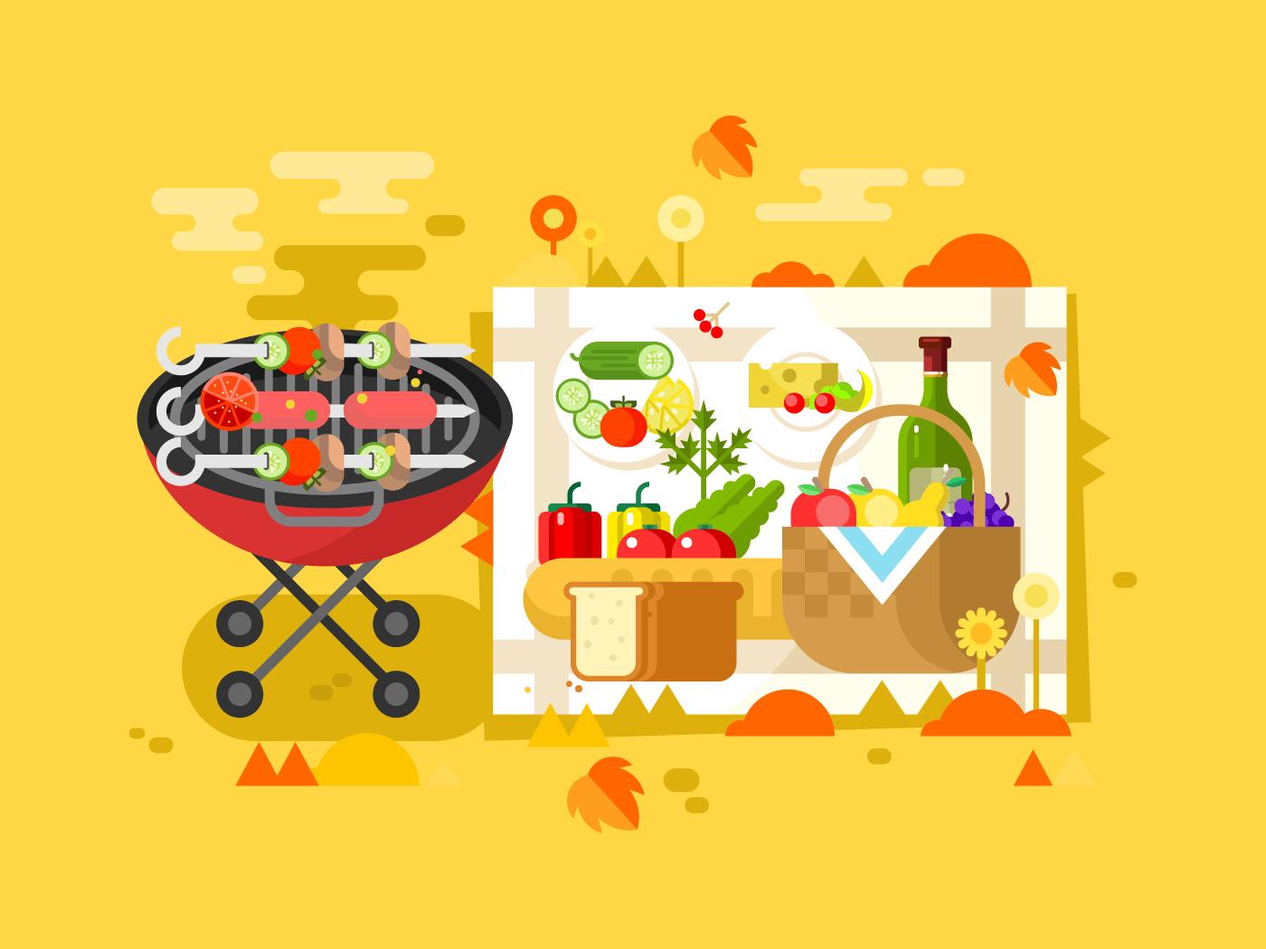 BBQ party flat vector illustration