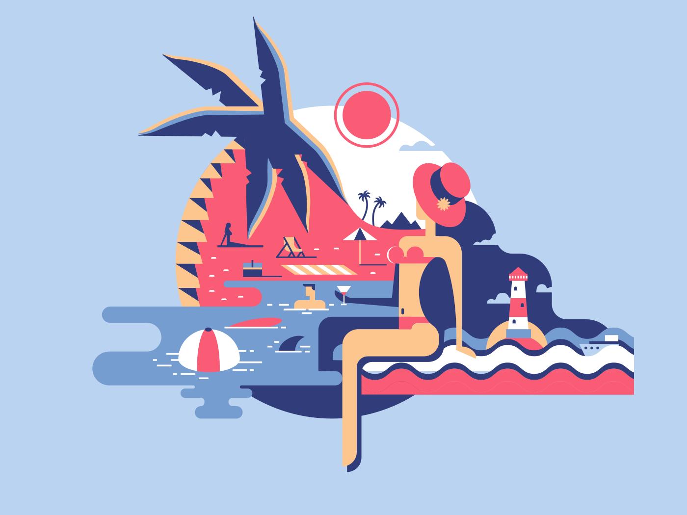Relax on beach flat vector illustration