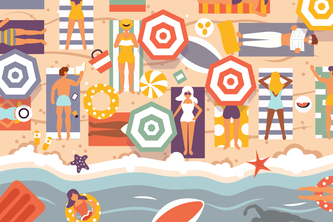 Summer beach vector illustration. Coast line top view of blue sea with umbrella and people lying on sand and swimming flat style design. Holidays and travel concept