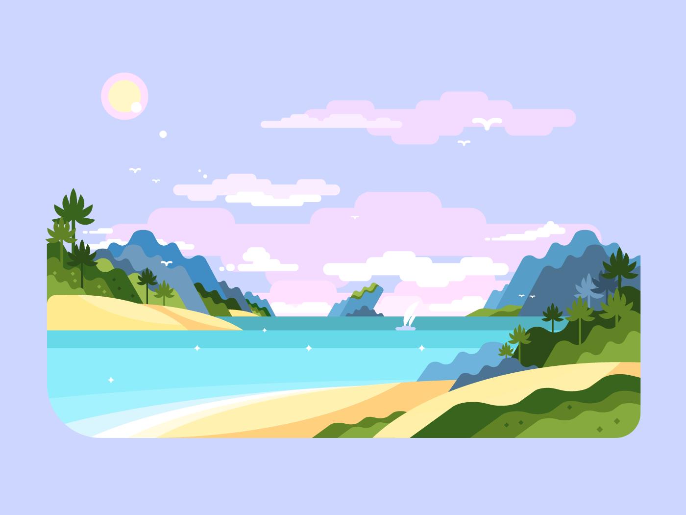 Beach flat vector illustration