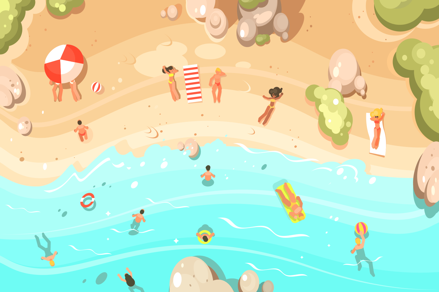 Summer sandy beach with vacationers. People swim and sunbathe. Vector illustration