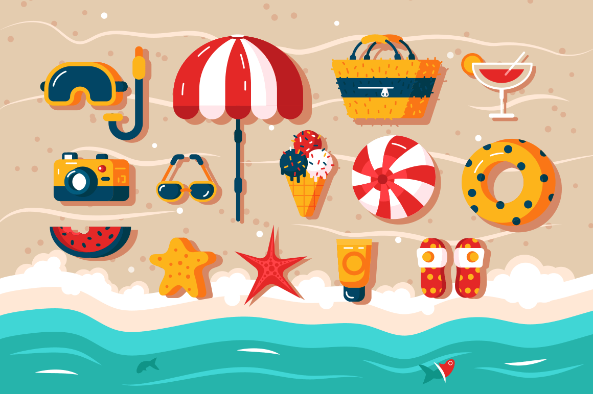 Set of various beach accessories vector illustration. Different frippery like photo camera, umbrella, snorkeling mask and ball lying in sand. Vacation in hot sunny countries concept