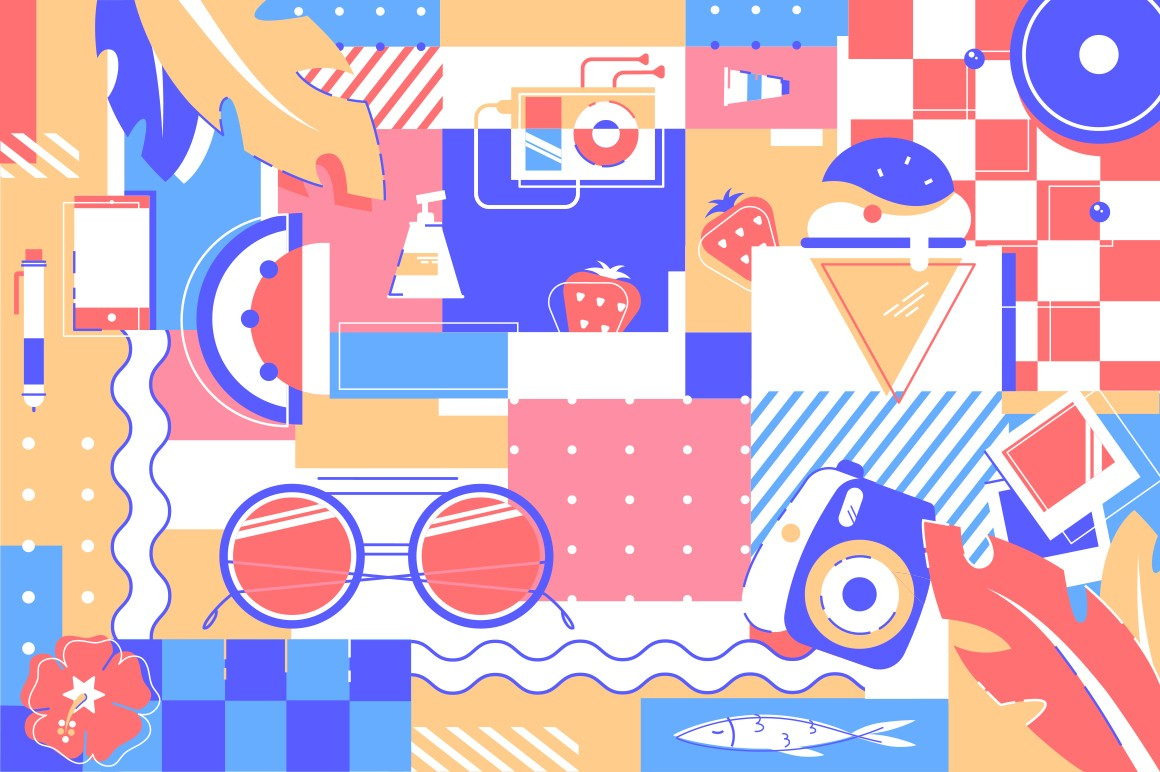Beach items background of glasses, ice cream and fruits
