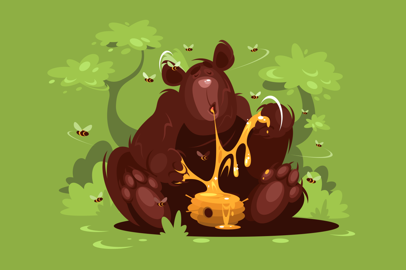 Brown bear eat sweet honey in green forest. Vector illustration