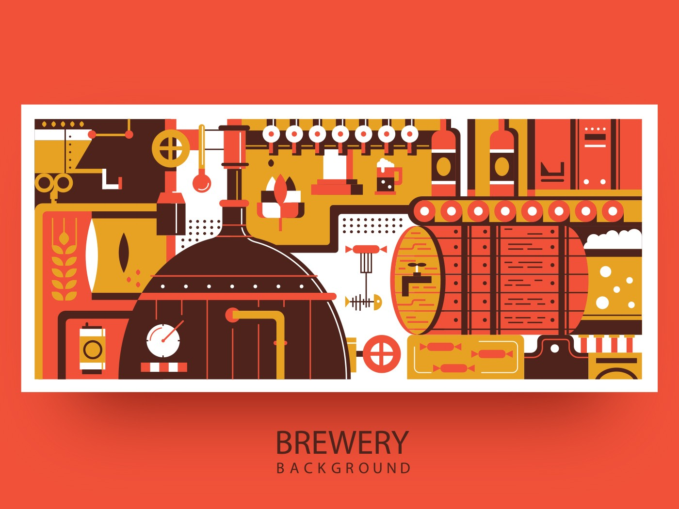 Brewery background flat vector illustration