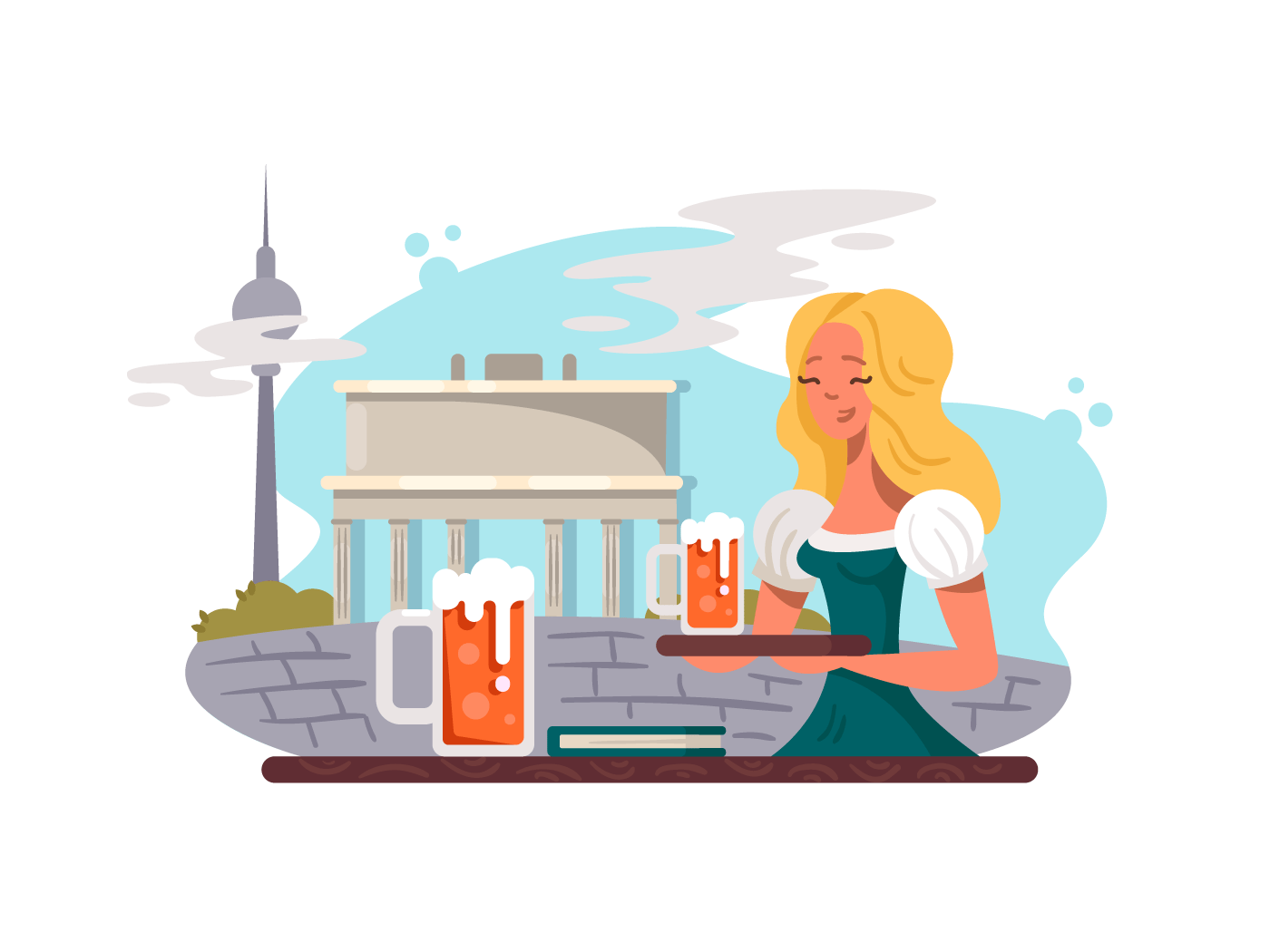 Berlin capital of Germany illustration