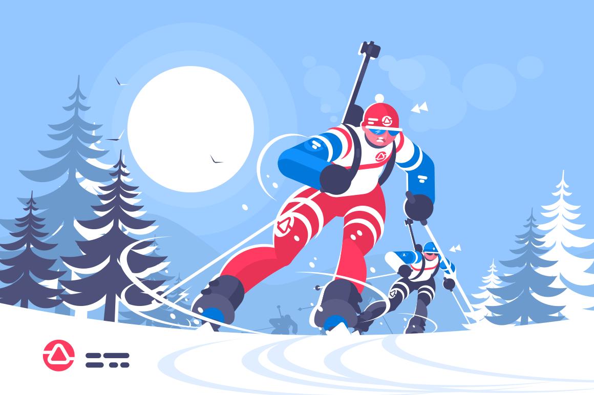 Biathlon race skiing man flat poster. Running athlete boy racer biathlete taking part in competition vector illustration. Winter olympic sport concept.