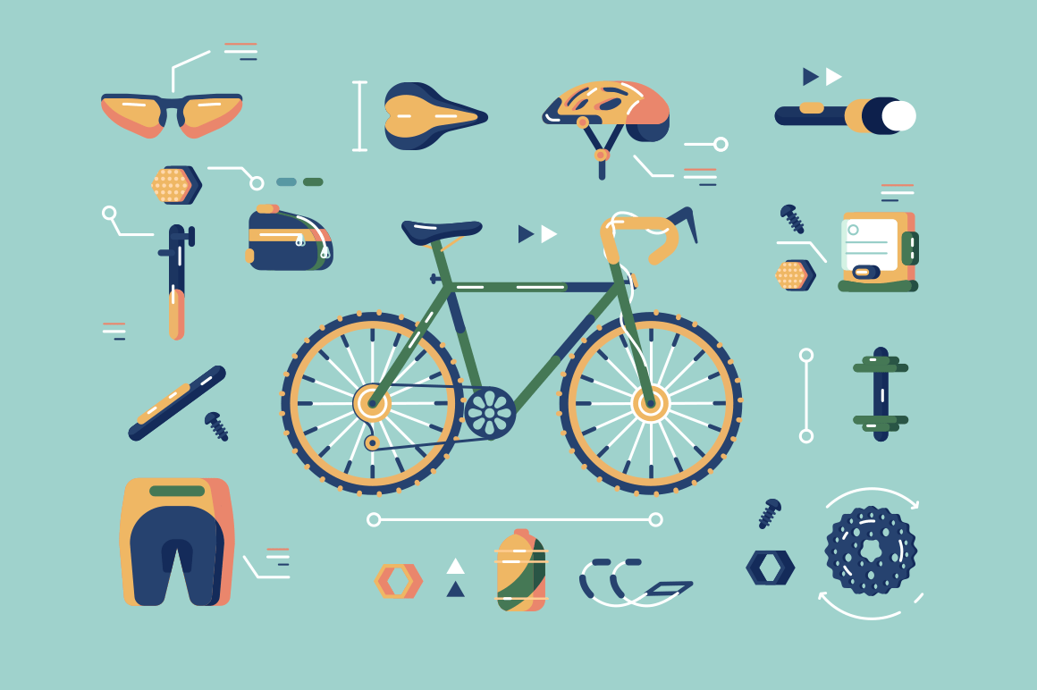 Bicycle equipment for cycling set vector illustration. Composition consists of bike in centre helmet sunglasses sportswear flashlight and spare parts of cycle flat concept. Isolated on blue