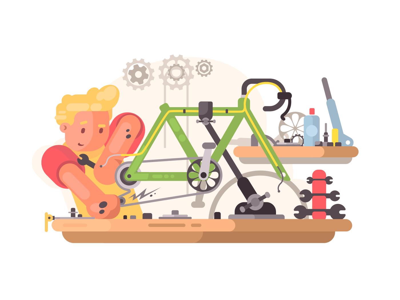 Bicycle repair service illustration