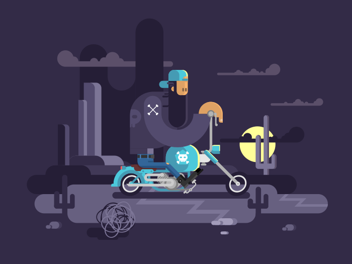 Cool biker on a motorcycle flat vector illustration