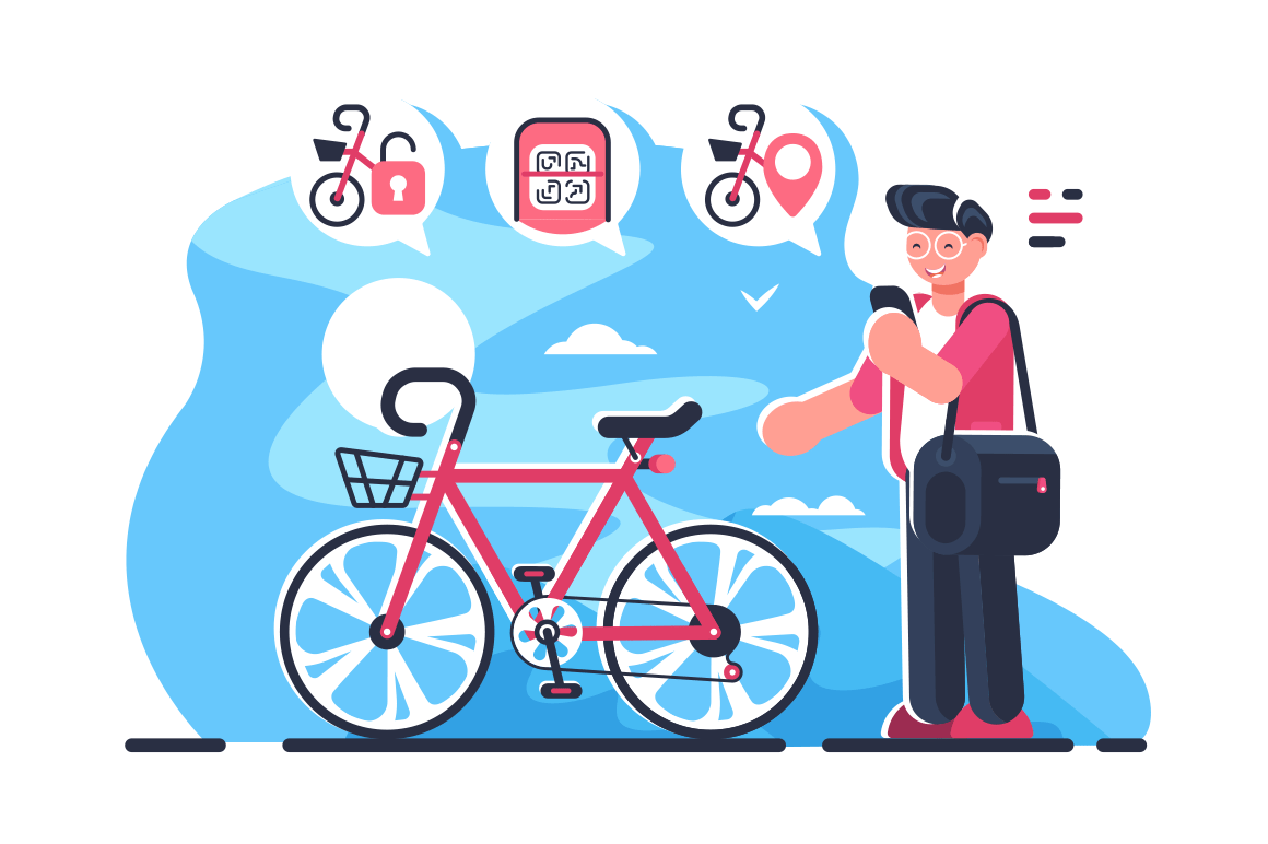 Bike sharing system station on city street. Boy holding smartphone with open mobile app and locates closest public bicycle rental flat concept vector illustration