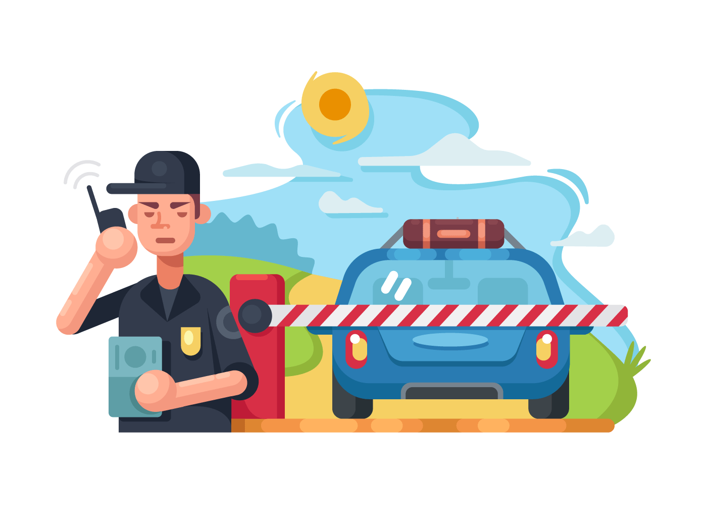 Traffic police checkpoint illustration