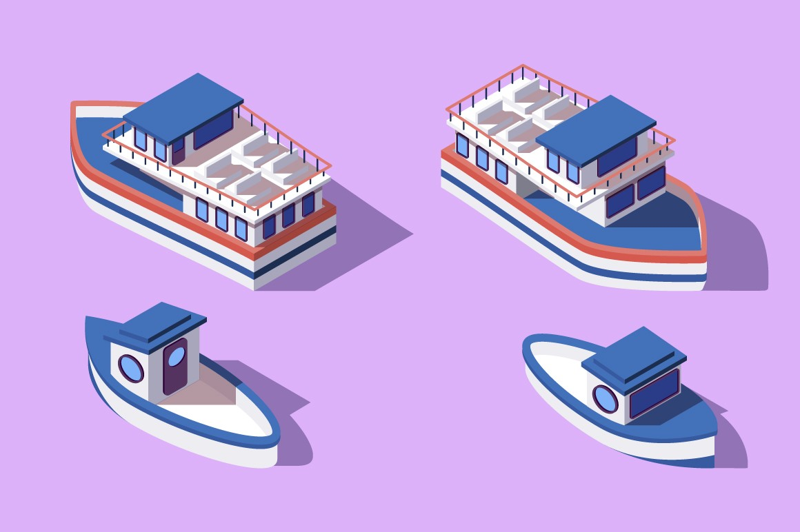3d isometric big and small boat and barge.