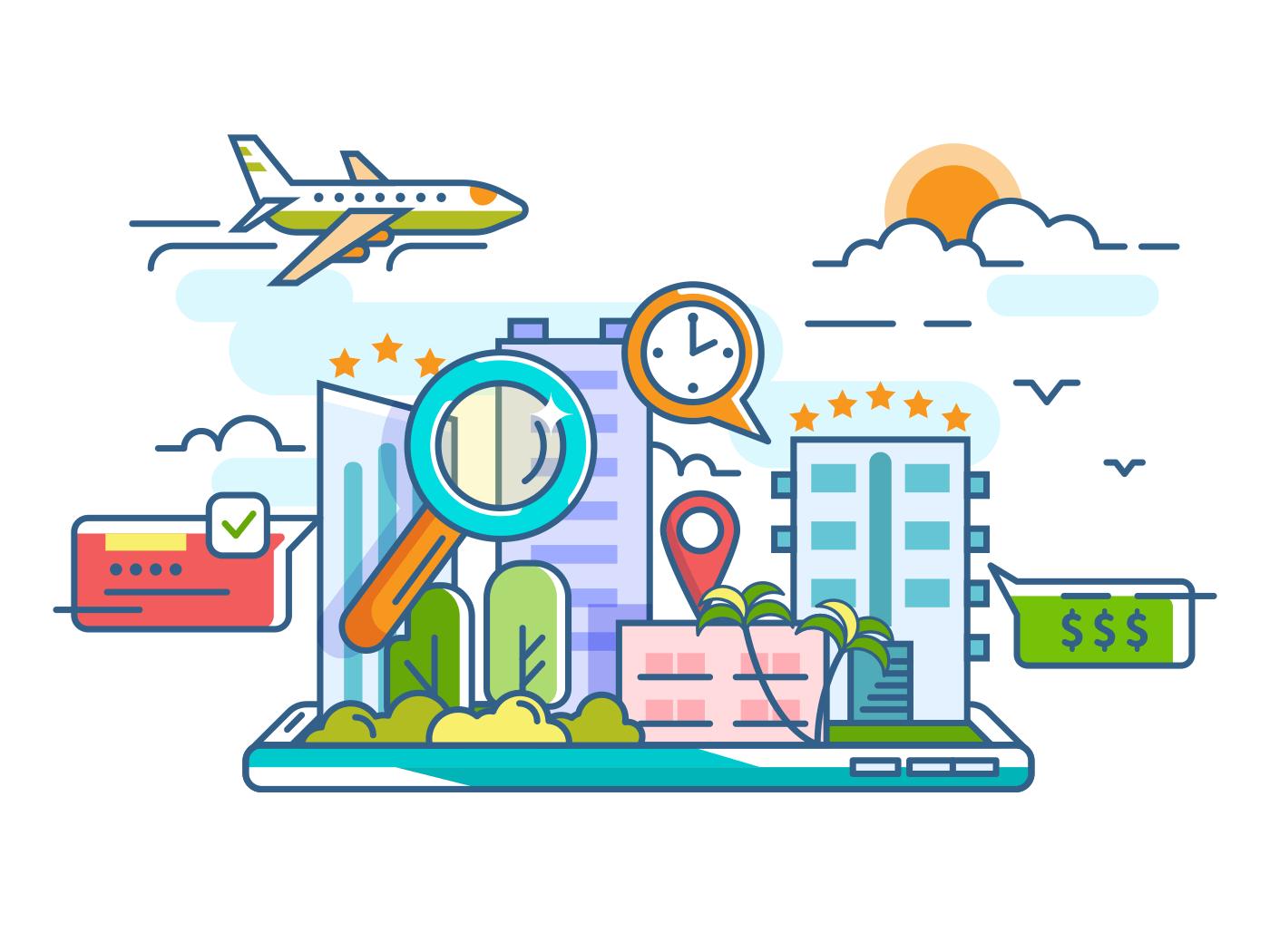 Booking reserve hotel illustration