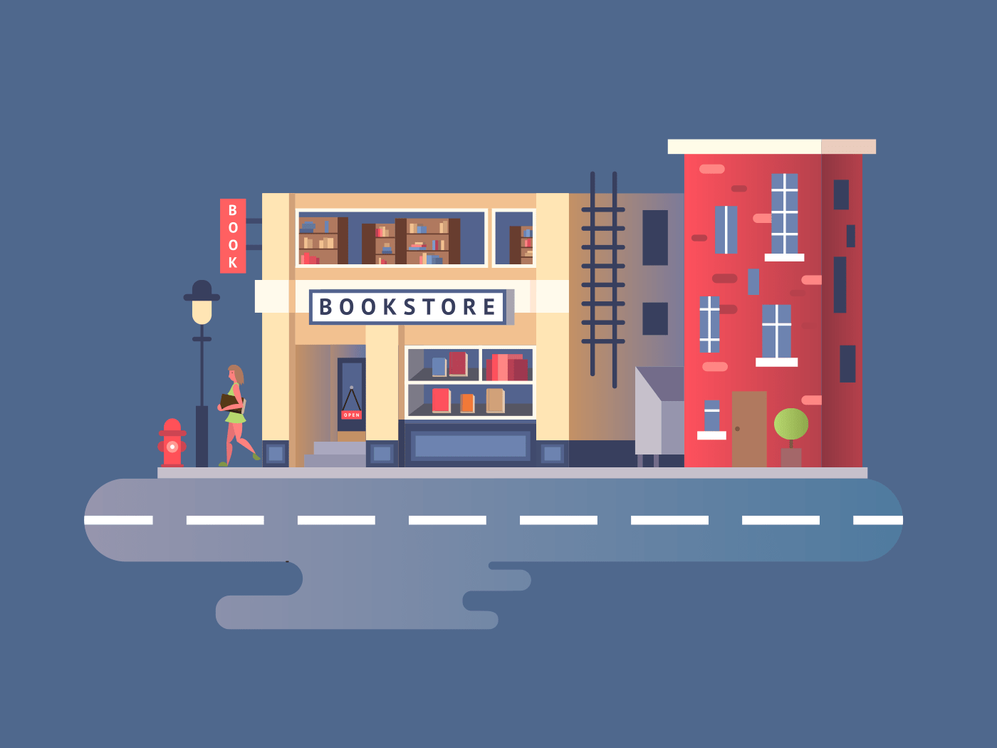 Book shop building illustration