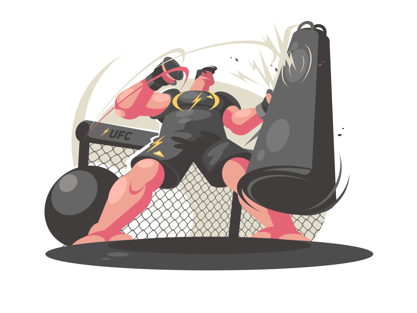 Boxer trains in gym. Guy beats punching bag. Vector illustration