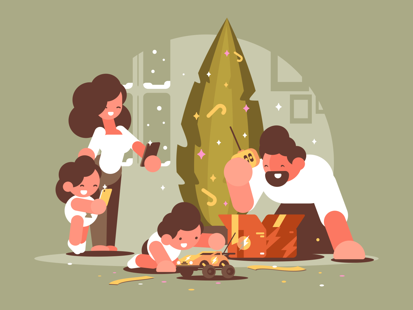 Parents with children open Christmas presents near festive xmas tree. Vector illustration