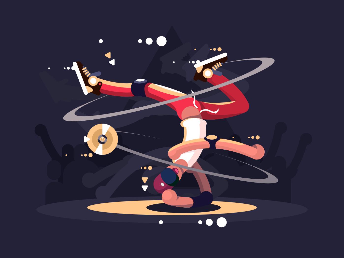 Breakdancer on stage flat vector illustration