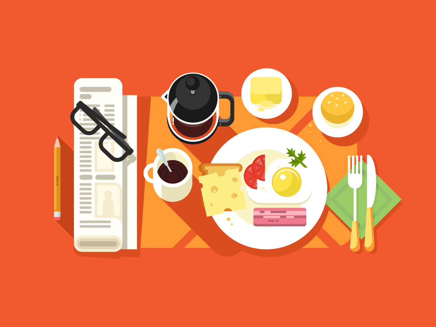 Breakfast flat vector illustration
