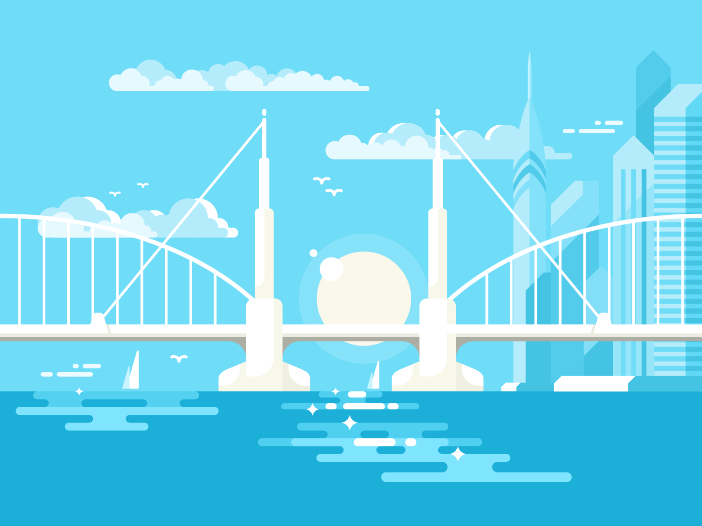 Modern bridge flat vector illustration