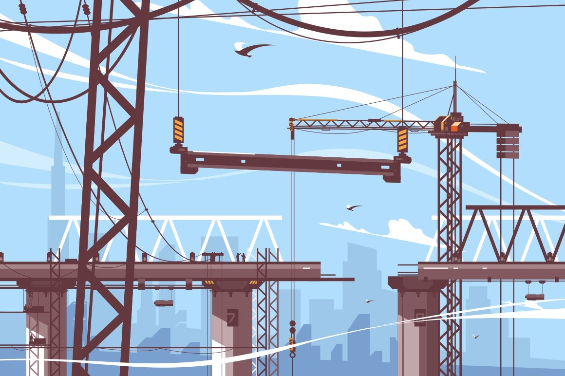 Bridge construction process vector illustration. Steps of formation new bridgework flat style. Tower crane holds concrete support. Building design and maintenance work concept
