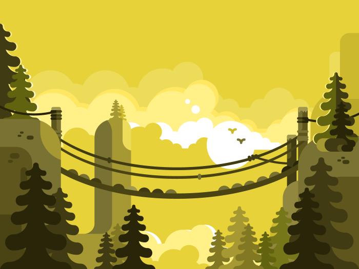 Suspension bridge flat vector illustration