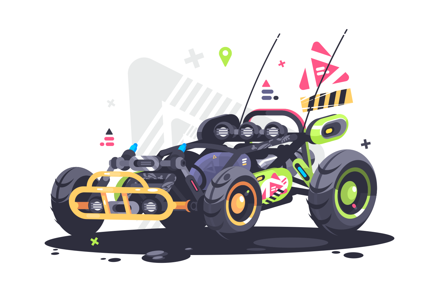 Racing car buggy. Powerful and fast sports auto. Vector illustration