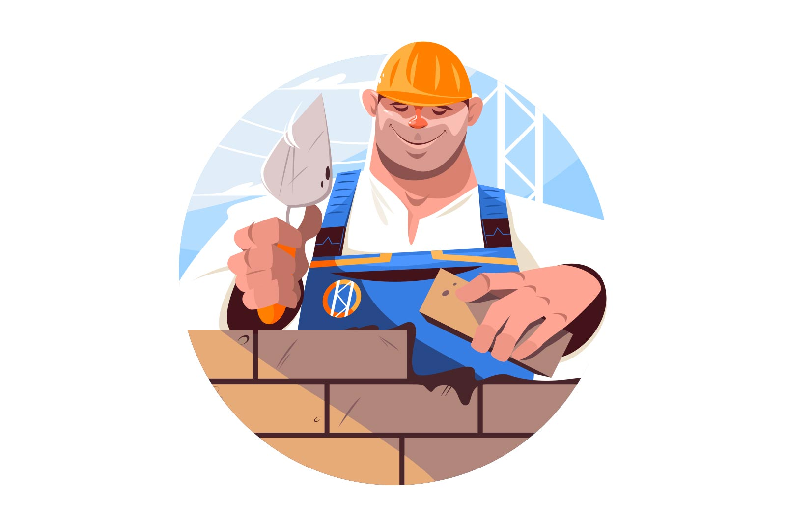 Builder holding brick vector illustration. Happy worker in protective hat on construction site flat style. Renovation and building concept. Isolated on white background