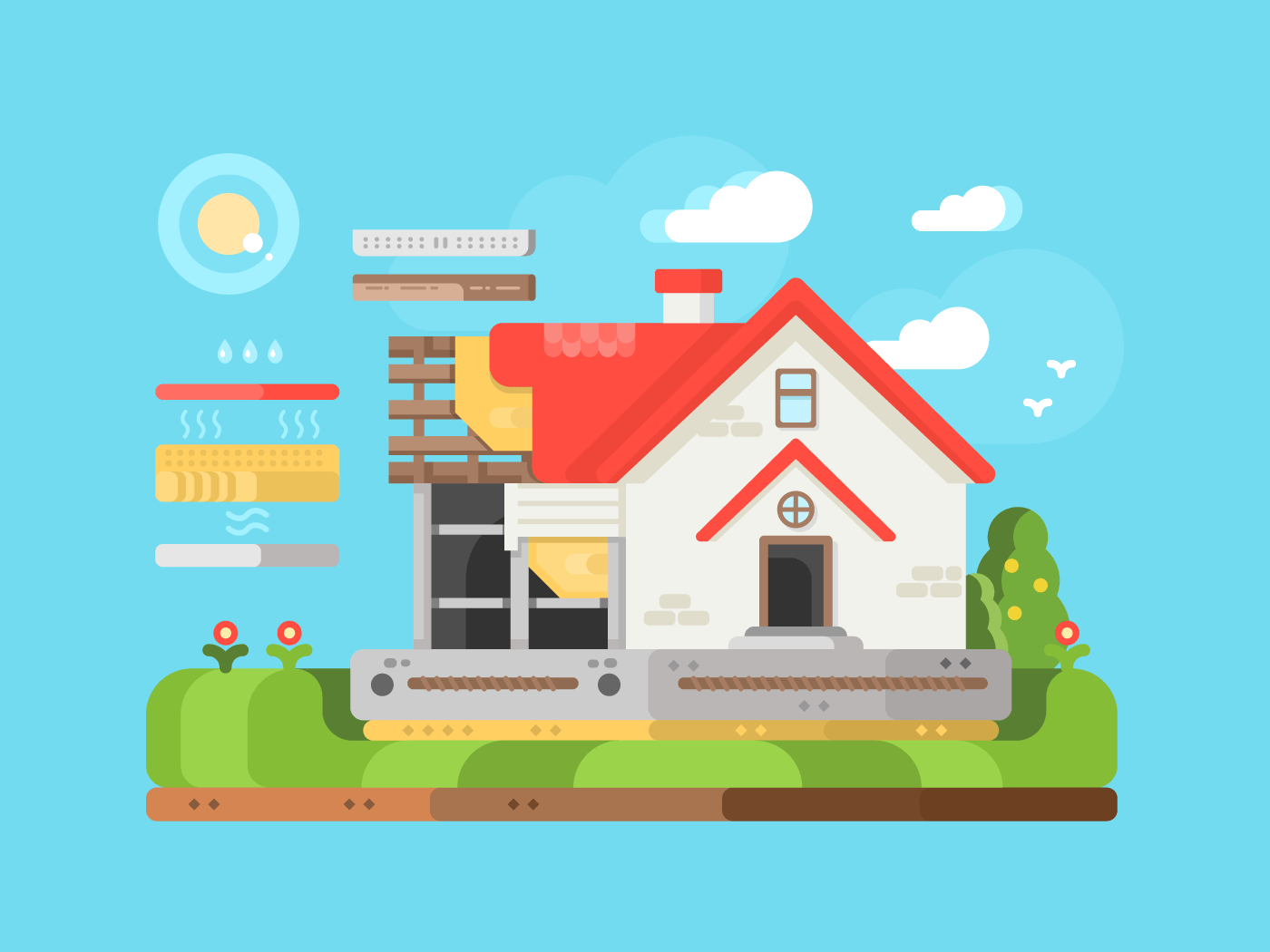 Construction of private houses flat vector illustration
