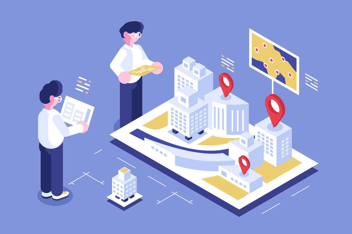 Architects working at new building project vector illustration. Model with geolocation pins and map. Workers standing with drawings flat style concept. Isolated on purple