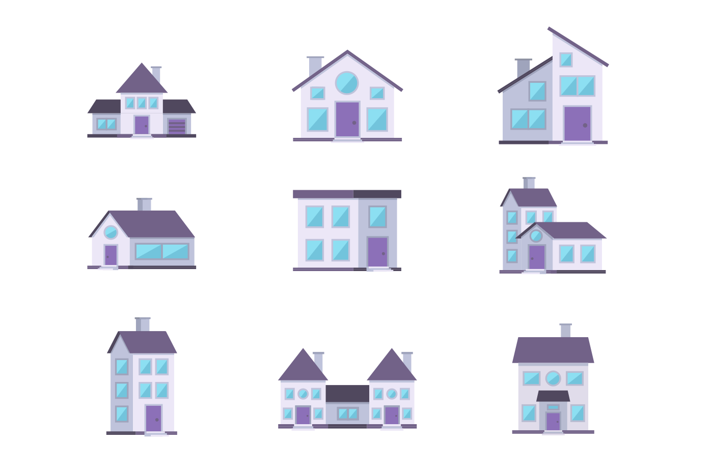 Different buildings houses residential facade set. Living cottages home apartment collection. Isolated. Flat. Vector illustration.