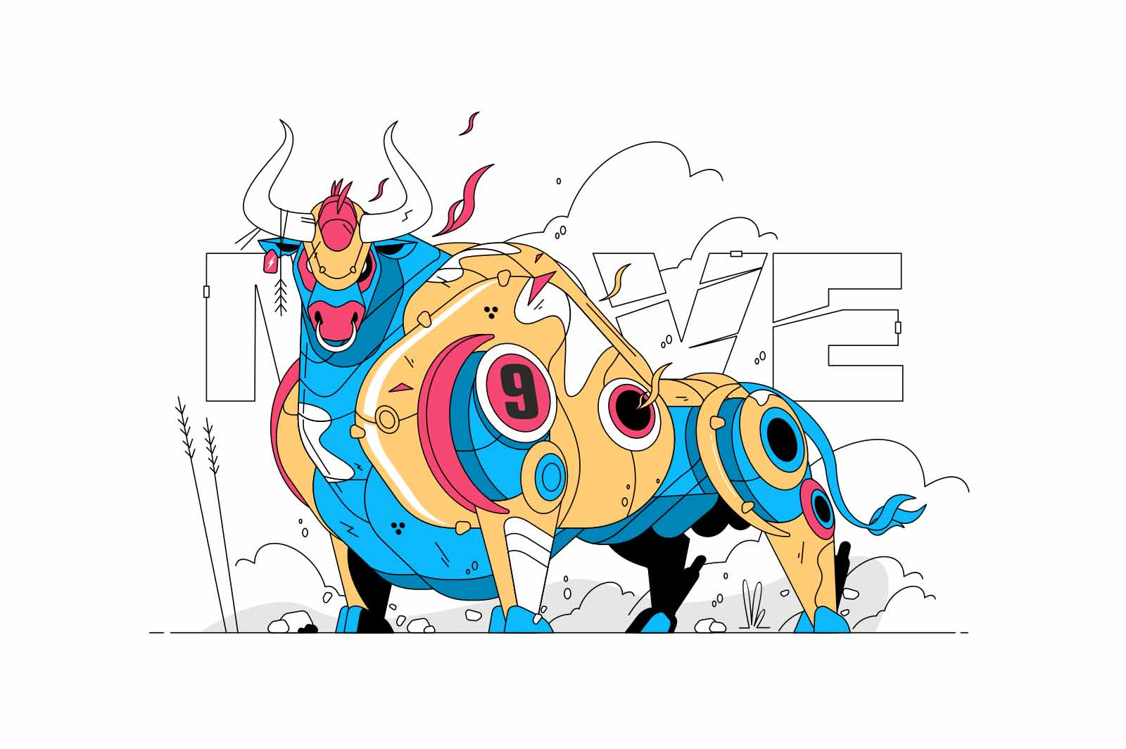 Colourful big bull vector illustration. Angry and wild animal made of metal flat style. Move text. Aggression and attack. Corrida and bullfight concept. Isolated on white background