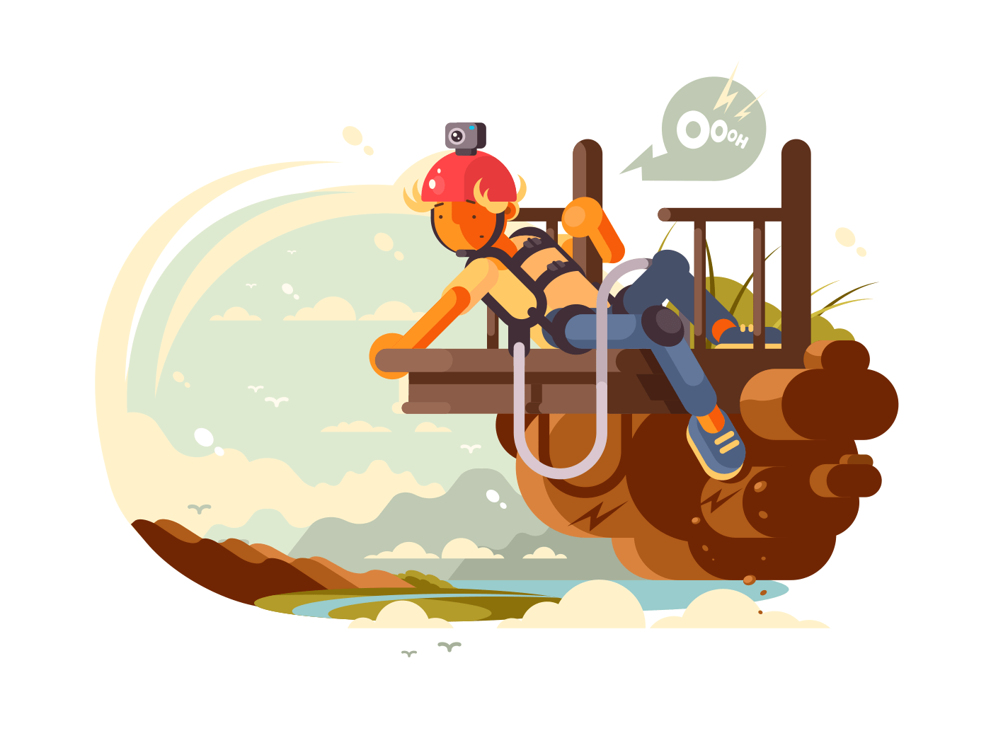 Man bungee jumping illustration
