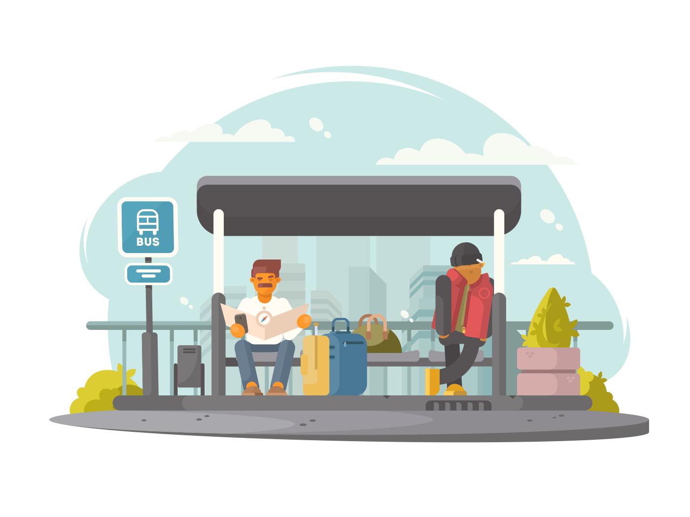 Passengers at bus stop illustration