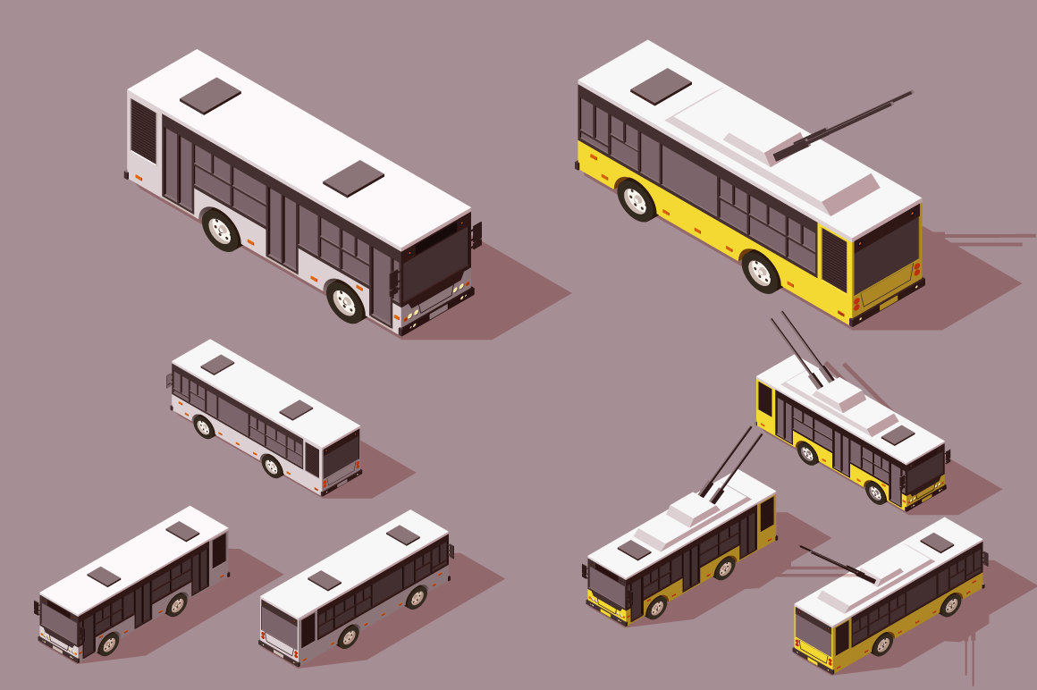 Set big and small bus trolley for transportation of people.
