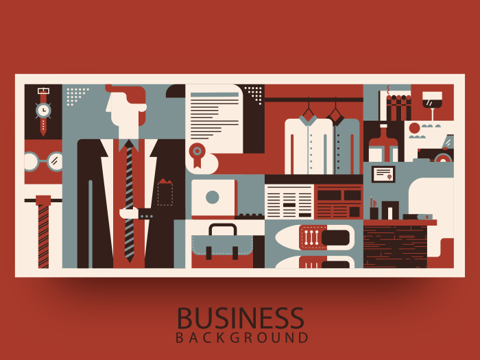 Business man object and accessories abstract background