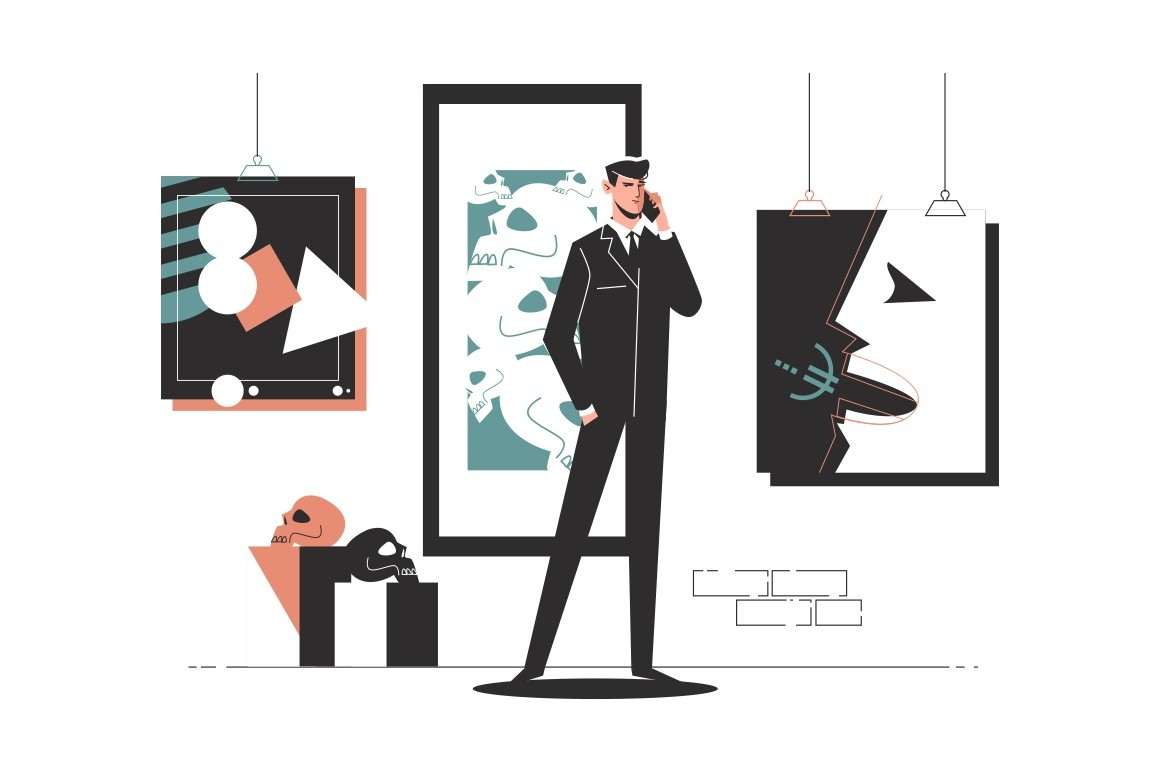 Businessman in an art gallery talking on phone vector illustration. Presentable man in black suit solving problem flat style. Business communication concept