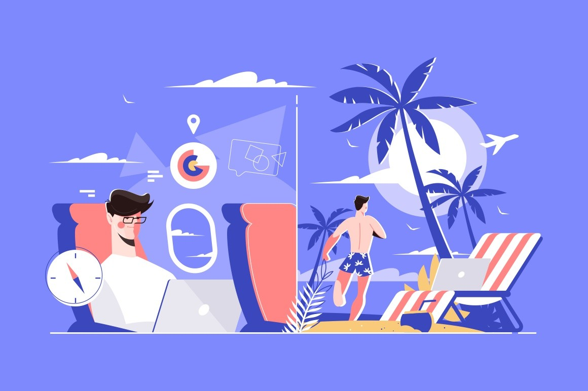 Businessman with laptop vector illustration. Man freelancer working in airplane on way to rest and on beach with tropic palm and golden sand flat style concept
