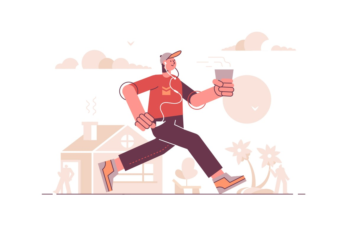 Man running in headset and listening music vector illustration. Guy hurrying to work and drinks coffee on way. Hasty pace of life concept. Isolated on white