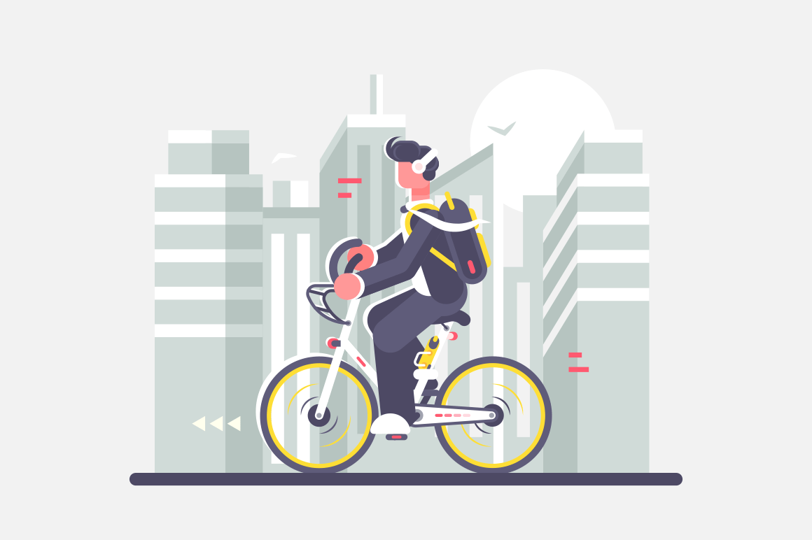 Man riding bike on cityscape background vector illustration. Cartoon boy in headphones and with backpack rides on bicycle to work in city street with buildings and skyscraper flat style concept