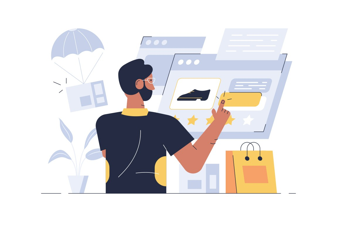 Online shopping application vector illustration. Cartoon bearded man using internet app for buying shoes and others goods flat style design. Modern technology concept
