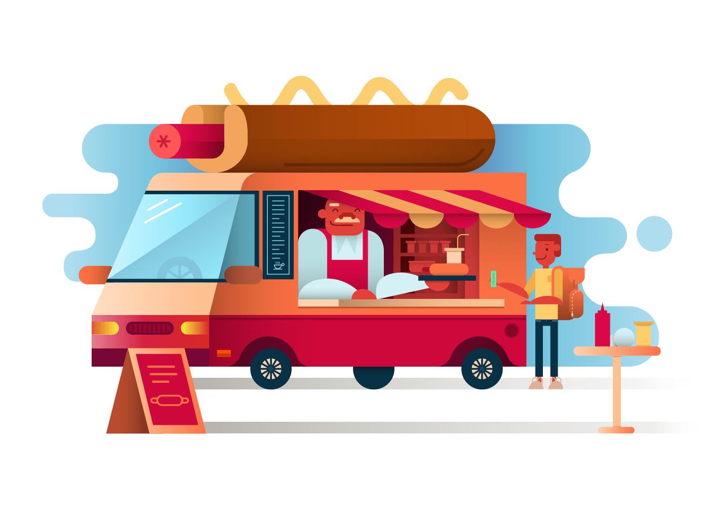 Cafe van hot dogs illustration
