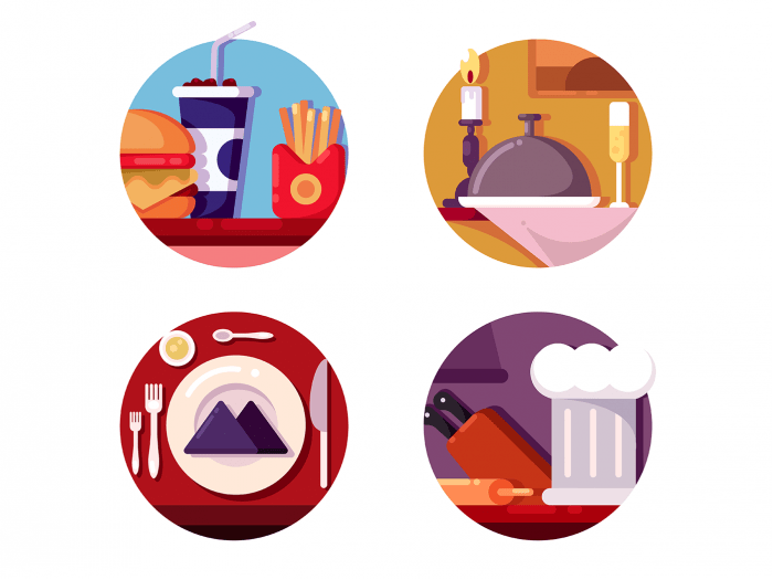 Meal in cafe or restaurant icons
