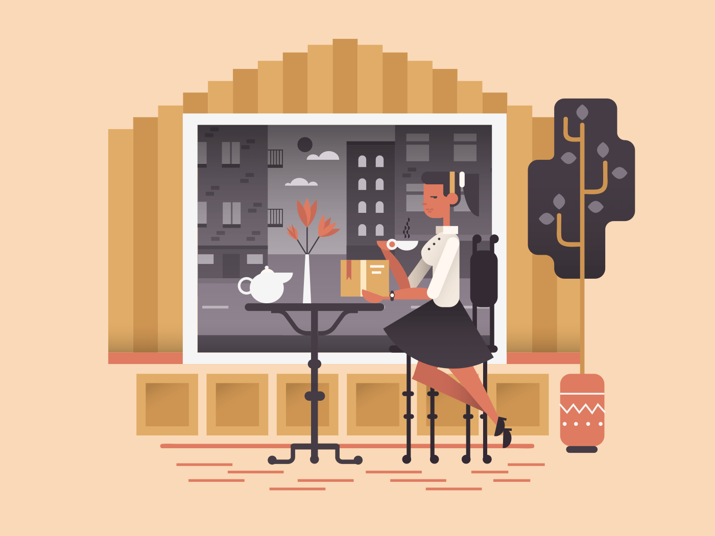 Girl sit in cafe illustration