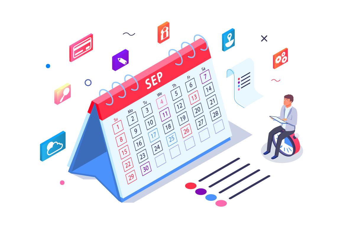 Isometric 3d calendar with task managment and businessman.