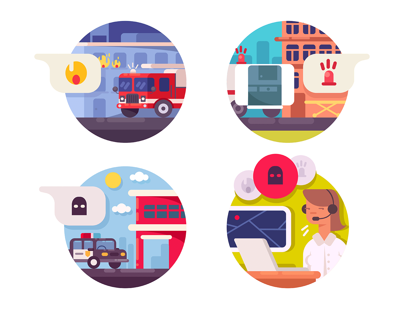 Emergency call icons